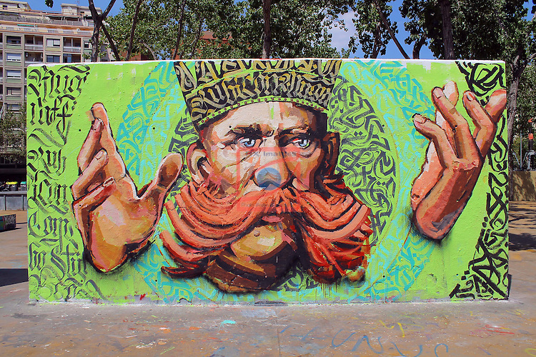 Street Art-Graffittis.<br /> Parc de les tres xemeneies.<br /> Barcelona- Poble Sec (Sants-Montjuic).