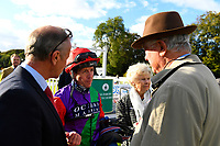 Jim Crowley Jockey of Sufficient talks to connections  in the winners enclosure after winning The Draintech Tankers Nursery Handicap Stakes during Twilight Racing at Salisbury Racecourse on 14th September 2018