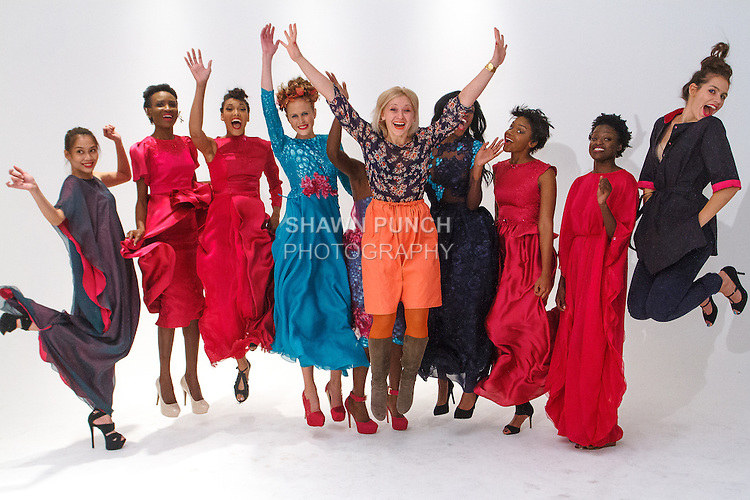 Fashion designer Lubov Tumanova jumps with models backstage after her LubOV TumanOVA Spring Summer 2016 collection fashion show, during Fashion Week Brooklyn Spring Summer 2016.
