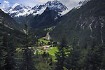 Village at the bottom of the Hahtennjoch pass between Imst and Reutte, Lech river, Austrian Alps.