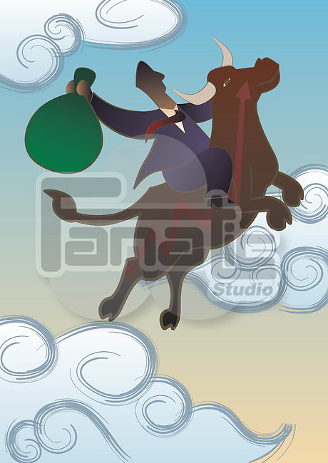 Businessman riding a bull