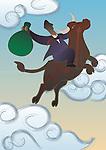 Businessman riding a bull
