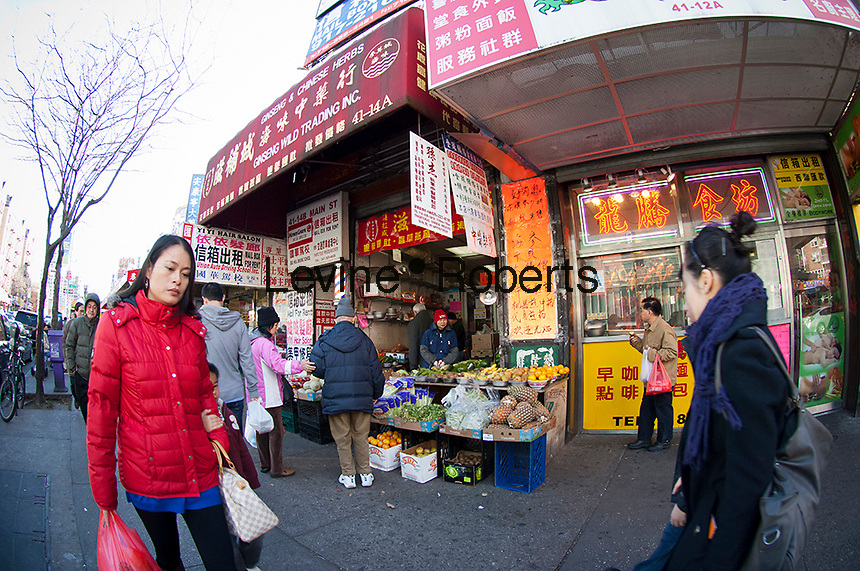People shopping in the Chinese neighborhood of Flushing, Queens in New York on Saturday, November 24, 2012.  Flushing, is considered one of the most diverse communities in New York.  (© Frances M. Roberts)