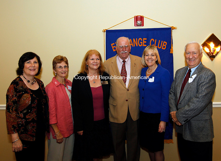 Waterbury, CT- 27, October 2010-102710CM15 SOCIAL MOMENTS EXCHANGE CLUB AWARDS:  Ginny O'Rouke (president-elect), Secretary Lucille Parsons, Regina Kiernan, District President, Dr. Edmund Gerardi, former officer, Sharon Mansfield former officer, and Sam Leisring (board of directors). Christopher Massa Republican-American