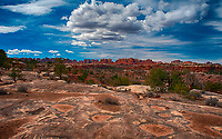 March 14, 2018: Pothole Point offers an excellent sunset overlook in The Needles District, Canyonlands National Park, Utah.
