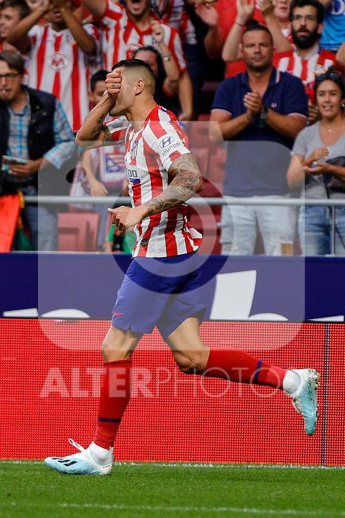 Victor Machin 'Vitolo' of Atletico de Madrid celebrates goal during La Liga match between Atletico de Madrid and SD Eibar at Wanda Metropolitano Stadium in Madrid, Spain.September 01, 2019. (ALTERPHOTOS/A. Perez Meca)