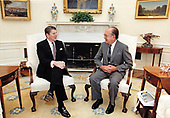 United States President Ronald Reagan meets with Richard Schifter, US Representative to the United Nations Human Rights Committee in the Oval Office of the White House in Washington, DC on February 2, 1984.<br /> Mandatory Credit: Mary Anne Fackelman / White House via CNP