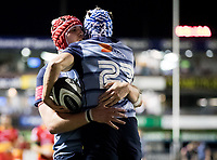 Cardiff Blues' Matthew Morgan celebrates scoring his sides sixth try with team mate Seb Davies<br /> <br /> Photographer Simon King/CameraSport<br /> <br /> Guinness Pro14 Round 6 - Cardiff Blues v Dragons - Friday 6th October 2017 - Cardiff Arms Park - Cardiff<br /> <br /> World Copyright &copy; 2017 CameraSport. All rights reserved. 43 Linden Ave. Countesthorpe. Leicester. England. LE8 5PG - Tel: +44 (0) 116 277 4147 - admin@camerasport.com - www.camerasport.co