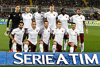 Calcio, Serie A:  Fiorentina vs Roma. Firenze, stadio Artemio Franchi, 25 ottobre 2015. <br /> Roma's players, front row, Mohamed Salah, Radja Nainggolan Miralem Pjanic, Lucas Digne  and Alessandro Florenzi, back row, Wojciech Szczesny, Kostas Manolas, Antonio Ruediger, Edin Dzeko, Gervinho and Daniele De Rossi pose prior to the start of of the Italian Serie A football match between Fiorentina and Roma at Florence's Artemio Franchi stadium, 25 October 2015. Roma won 2-1.<br /> UPDATE IMAGES PRESS/Isabella Bonotto