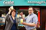 10/04/2014 - Slane Lotto Win – Peter and Irene Fleming of Mimnagh's Gala Shop in Slane where the €6.5m winning Lotto ticket was sold on Tuesday. www.newsfile.ie