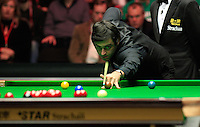 Ronnie O'Sullivan plays a safety shot during the Dafabet Masters FINAL between Barry Hawkins and Ronnie O'Sullivan at Alexandra Palace, London, England on 17 January 2016. Photo by Liam Smith / PRiME Media Images