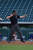 Home plate umpire Austin Nelson calls a batter out on strikes during an Arizona League game between the AZL Royals and AZL Cubs 1 on June 30, 2019 at Sloan Park in Mesa, Arizona. AZL Royals defeated the AZL Cubs 1 9-5. (Zachary Lucy/Four Seam Images)