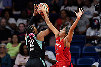 Washington, DC - August 25, 2019: Washington Mystics forward Tianna Hawkins (21) blocks the shot of New York Liberty forward Reshanda Gray (12) during second half action of game between the New York Liberty and the Washington Mystics at the Entertainment and Sports Arena in Washington, DC. The Mystics defeated New York 101-72. (Photo by Phil Peters/Media Images International)
