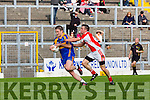 Stephen O'Brien  Kenmare and Gavin O'Connor West Kerry in action during their County Championship QF in Fitzgerald Stadium on Sunday