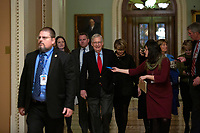 United States Senate Majority Leader Mitch McConnell (Republican of Kentucky) walks to his office from the Senate Floor on Capitol Hill in Washington D.C., U.S., on Monday, January 6, 2019.<br /> <br /> Credit: Stefani Reynolds / CNP/AdMedia