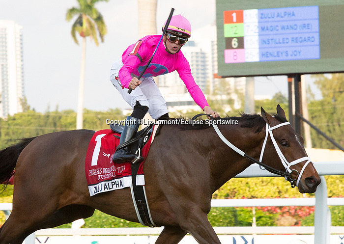 January 25, 2020: #1 Zulu Alpha with jockey Tyler Gaffalione on board wins the Pegasus World Cup Turf Invitational GI during the Pegasus World Cup Invitational at Gulfstream Park Race Track in Hallandale Beach, Florida. Liz Lamont/Eclipse Sportswire/CSM