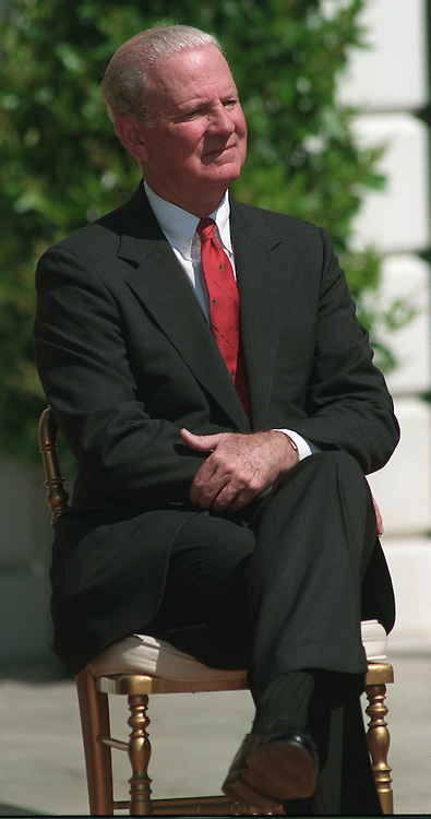 4/4/97.Former Secretary of State James Baker at White House event to discuss the importance of ratifying the chemical weapons convention treaty. White House, South Lawn..PHOTO BY SCOTT J. FERRELL