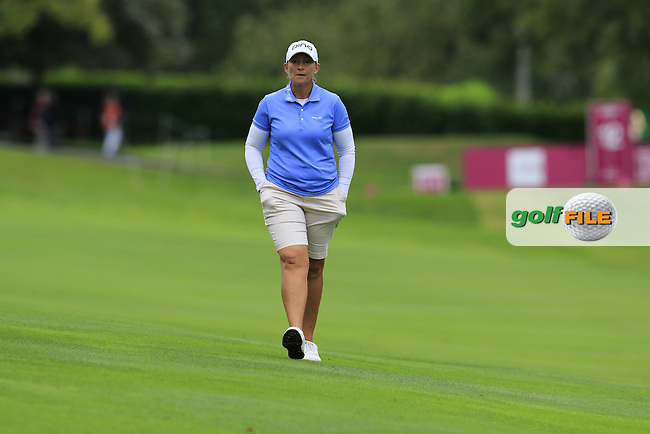 Angela Stanford (USA) on the 12th hole during Saturday's Round 3 of The 2016 Evian Championship held at Evian Resort Golf Club, Evian-les-Bains, France. 17th September 2016.<br /> Picture: Eoin Clarke | Golffile<br /> <br /> <br /> All photos usage must carry mandatory copyright credit (&copy; Golffile | Eoin Clarke)