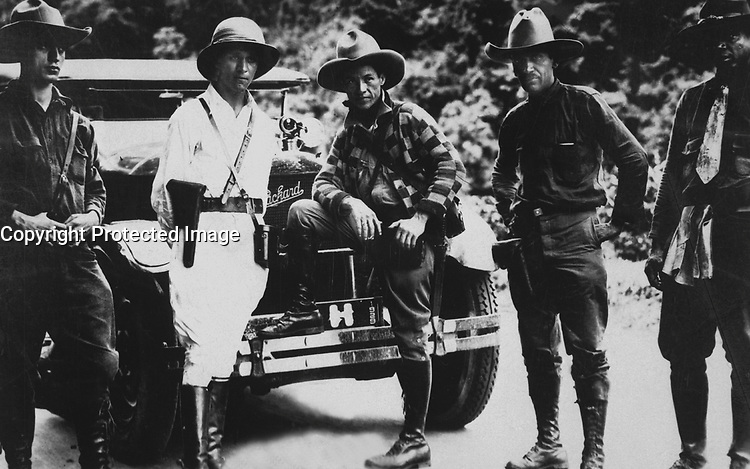 Gen. Sandino (center) and Staff enroute to Mexico.  June 1929.  Siglo XX.  (Marine Corps)<br /> EXACT DATE SHOT UNKNOWN<br /> NARA FILE #:  127-EX-1-6<br /> WAR &amp; CONFLICT BOOK #:  371