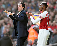 Arsenal manager Unai Emery & Ainsley Maitland-Niles urge their side on<br /> <br /> Photographer David Shipman/CameraSport<br /> <br /> The Premier League - Arsenal v Burnley - Saturday 22nd December 2018 - The Emirates - London<br /> <br /> World Copyright © 2018 CameraSport. All rights reserved. 43 Linden Ave. Countesthorpe. Leicester. England. LE8 5PG - Tel: +44 (0) 116 277 4147 - admin@camerasport.com - www.camerasport.com