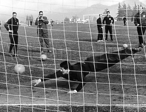 World Cup Finals Chile 1962. Goalkeeper  Wolfgang Fahriandives to tip a shot around the post in practice for the games in the World Cup Finals June 1962.