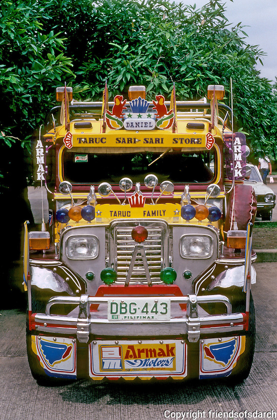 Philippines: Manila--Jeepney, frontal view. Photo '82.