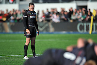 Alex Goode of Saracens watches a scrum. Aviva Premiership match, between Saracens and Leicester Tigers on April 11, 2015 at Allianz Park in London, England. Photo by: Patrick Khachfe / JMP