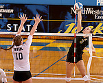 BROOKINGS, SD - SEPTEMBER 5:  Kacey Herrmann #3 from South Dakota State gets a kill down the line past Jill Ivy #10 from Stephen F. Austin during their match Friday afternoon at Frost Arena in Brookings. (Photo/Dave Eggen/Inertia)
