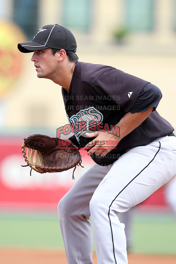 First Baseman Ryan Rieger #28 of the Florida Marlins instructional League team during a game against the Italian National Team at the Roger Dean Stadium in Jupiter, Florida;  September 27, 2011.  Italy is training in Florida for the Baseball World Cup.  (Mike Janes/Four Seam Images)