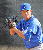 June 19, 2008: RHP Kelvin Herrera of the Burlington Royals, rookie Appalachian League affiliate of the Kansas City Royals, prior to a game against the Danville Braves at Dan Daniel Memorial Park in Danville, Va. Photo by:  Tom Priddy/Four Seam Images