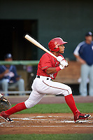 Harrisburg Senators shortstop Wilmer Difo (18) at bat during a game against the New Hampshire Fisher Cats on July 21, 2015 at Metro Bank Park in Harrisburg, Pennsylvania.  New Hampshire defeated Harrisburg 7-1.  (Mike Janes/Four Seam Images)