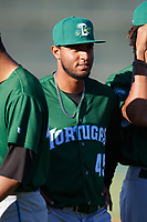Daytona Tortugas relief pitcher Sandy Lugo (45) during introductions before a game against the Florida Fire Frogs on April 6, 2017 at Osceola County Stadium in Kissimmee, Florida.  Daytona defeated Florida 3-1.  (Mike Janes/Four Seam Images)