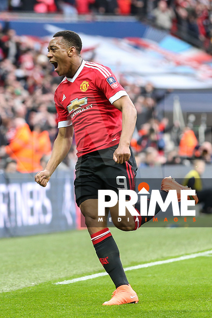 Anthony Martial of Manchester United celebrates scoring his team's second and winning goal against Everton to make it 1-2 during the FA Cup Semi-Final match between Everton and Manchester United at Wembley Stadium, London, England on 23 April 2016. Photo by David Horn / PRiME Media Images.