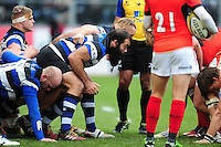 Kane Palma-Newport of Bath Rugby prepares to scrummage against his opposite number. Aviva Premiership match, between Bath Rugby and Saracens on December 3, 2016 at the Recreation Ground in Bath, England. Photo by: Patrick Khachfe / Onside Images