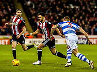 Sheffield United's defender George Baldock (2) chased by Queens Park Rangers defender Jake Bidwell (3) during the Sky Bet Championship match between Sheff United and Queens Park Rangers at Bramall Lane, Sheffield, England on 20 February 2018. Photo by Stephen Buckley / PRiME Media Images.