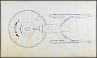 BNPS.co.uk (01202 558833)<br /> Pic: PropStore/BNPS<br /> <br /> Star Trek USS Enterprise NCC-1701 undercarriage view blueprint.<br /> <br /> Fascinating blueprints from the early Star Wars and Star Trek films have been unearthed.<br /> <br /> An auction house is selling a selection of blueprints which include front elevations of R2-D2, interior and exterior set renderings of the Millennium Falcon and front, side and bottom views of the USS Enterprise as well as USS Enterprise set plans.<br /> <br /> The blueprints - many of which have never before been seen by the public - provide a unique insight to fans of the iconic films about how they were made.