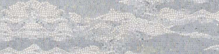 """10"""" Cloud border, a hand-cut stone mosaic, shown in  tumbled Carrara, Thassos, Lettuce Ming, Celeste and Ming Green."""