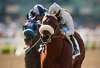Amazombie and Mike Smith win the 2012 Potrero Grande Stakes at Santa Anita Park in Arcadia California on April 7, 2012.