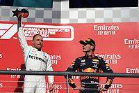 3rd November 2019; Circuit of the Americas, Austin, Texas, United States of America; Formula 1 United States Grand Prix, race day; Mercedes AMG Petronas Motorsport, Valtteri Bottas takes first place, on the podium - Editorial Use