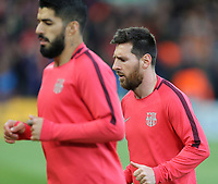 Barcelona's Luis Suarez (left) and Lionel Messi during the pre-match warm-up <br /> <br /> Photographer Rich Linley/CameraSport<br /> <br /> UEFA Champions League Semi-Final 2nd Leg - Liverpool v Barcelona - Tuesday May 7th 2019 - Anfield - Liverpool<br />  <br /> World Copyright © 2018 CameraSport. All rights reserved. 43 Linden Ave. Countesthorpe. Leicester. England. LE8 5PG - Tel: +44 (0) 116 277 4147 - admin@camerasport.com - www.camerasport.com