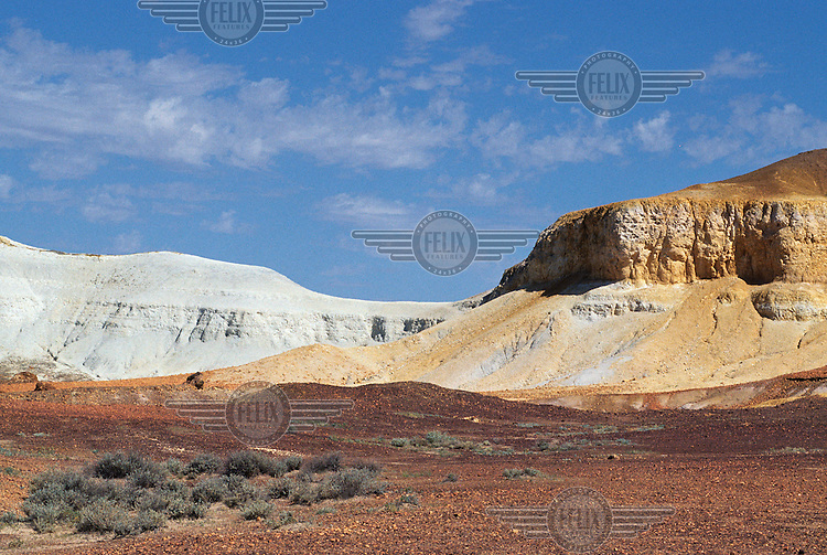 The salt and pepper mountains in the Painted Desert.