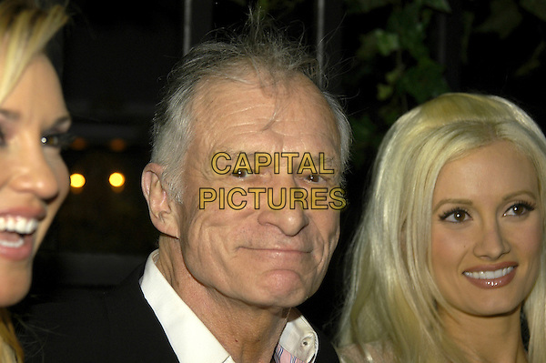 BRIDGET MARQUARDT, HUGH HEFNER & HOLLY MADISON.Hugh Hefner's 80th Birthday Party, The Playroom, London, England..May 23rd 2006.Ref: IA.headshot portrait girlfriends .www.capitalpictures.com.sales@capitalpictures.com.©Capital Pictures