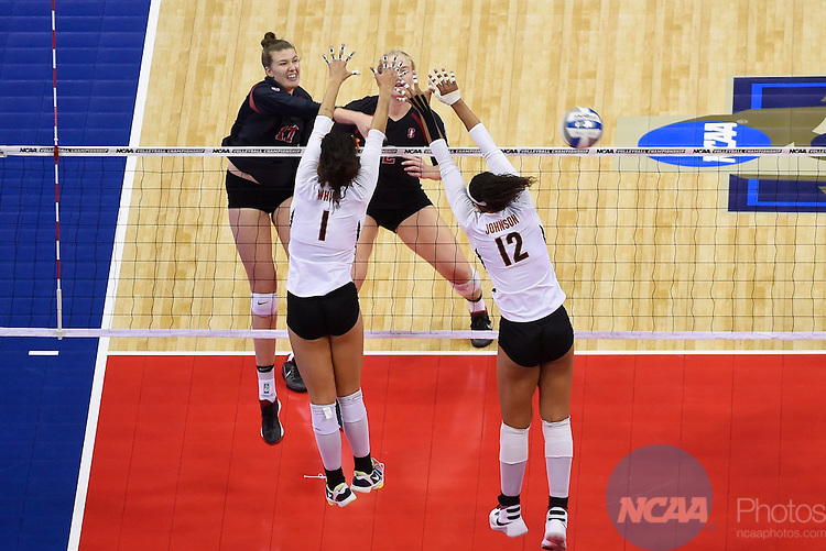 COLUMBUS, OH - DECEMBER 17:  Merete Lutz (17) of Stanford University spikes the ball against the University of Texas during the Division I Women's Volleyball Championship held at Nationwide Arena on December 17, 2016 in Columbus, Ohio.  Stanford defeated Texas 3-1 to win the national title. (Photo by Jamie Schwaberow/NCAA Photos via Getty Images)