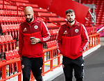 David McGoldrick of Sheffield Utd and Kieron Freeman of Sheffield Utd during the Premier League match at Bramall Lane, Sheffield. Picture date: 9th February 2020. Picture credit should read: Simon Bellis/Sportimage