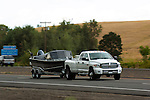 Dodge Ram dually truck towing boat