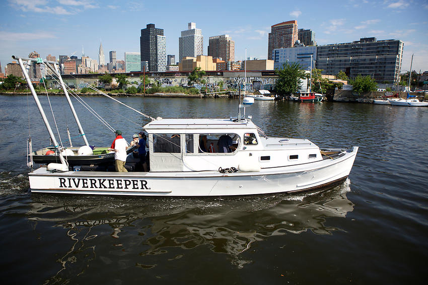 Queens, NY - July 10, 2017:  The Riverkeepers boat the R. Ian Fletcher patrols New York State's waterways tracking pollution by taking regular samples of the waters.<br /> <br /> Credit: Clay Williams for Edible Queens.