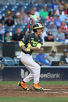 Mickey Moniak (22) of the West team bats during the 2015 Perfect Game All-American Classic at Petco Park on August 16, 2015 in San Diego, California. The East squad defeated the West, 3-1. (Larry Goren/Four Seam Images)