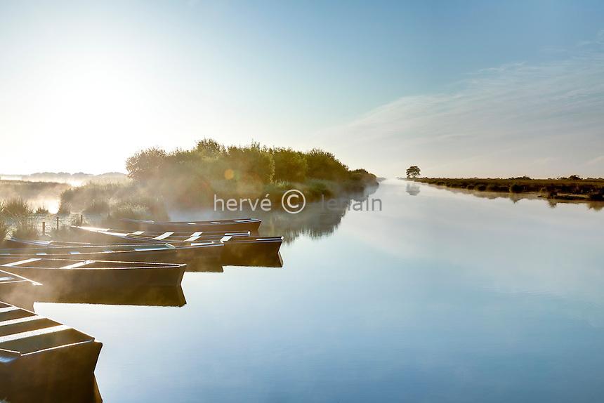France, Loire-Atlantique (44), Parc Naturel Régional de Brière, Saint-Lyphard, port de Bréca, lever de soleil sur le marais // France, Loire Atlantique, Parc Naturel Regional de Briere (Briere Natural Regional Park), St Lyphard, port of Breca, sunrise on the marsh