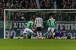 08.03.2019, Weserstadion, Bremen, GER, 1.FBL, Werder Bremen vs FC Schalke 04<br /> <br /> DFL REGULATIONS PROHIBIT ANY USE OF PHOTOGRAPHS AS IMAGE SEQUENCES AND/OR QUASI-VIDEO.<br /> <br /> im Bild / picture shows<br /> Tor 2:1, Max Kruse (Werder Bremen #10) mit Torschuss und Treffer zum 2:1 per Foulelfmeter gegen Alexander N&uuml;bel / Nuebel (FC Schalke 04 #35), <br /> <br /> Foto &copy; nordphoto / Ewert
