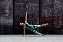Rambert presents RAMBERT EVENT, by Merce Cunningham, at Sadler's Wells. Choreography by Merce Cunningham, staging by Jeannie Steele, Music by Philip Selway, Quinta and Adem Ilhan, designs inspired by Gerhard Richter's 'Cage' series, performed by Rambert. The dancer is: Jacob Wye